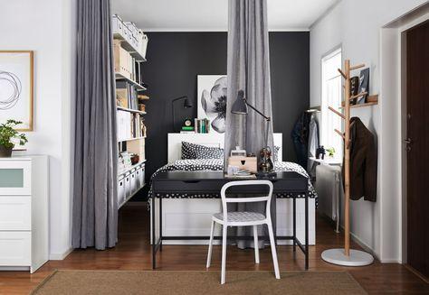 Gordijnen Als Roomdivider : Aina gordijnen als scheidingswand ikea slaapkamer oplossing