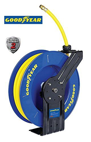 Goodyear Steel Retractable Air Compressor Water Hose Reel With 1 2 In X 65 Ft Rubber Hose Max 300psi Hose Reel Air Hose Reel Goodyear