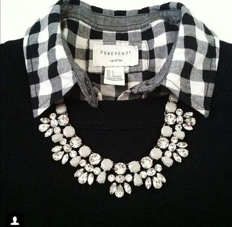 Collared shirt + sweater + necklace = classic