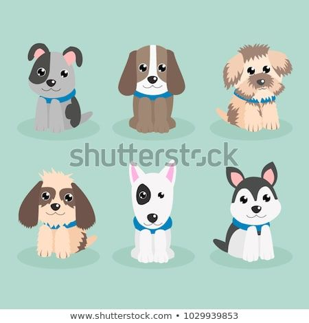 Funny Cartoon Dogs Characters Different Breeds Doggy Puppy