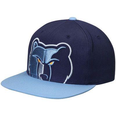 Men s Mitchell   Ness Navy Light Blue Memphis Grizzlies Cropped XL Logo Adjustable  Snapback Hat 72b76965dcef