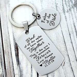 Father Of The Bride Personalized Dog Tag Key Chain With Images