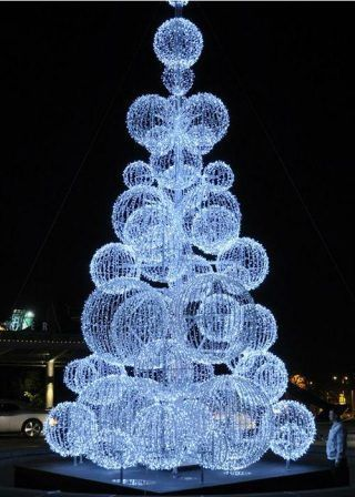 Led Outdoor Christmas Tree With White Balls Outdoor Christmas Tree Led Outdoor Christmas Tree Christmas Decorations Diy Outdoor