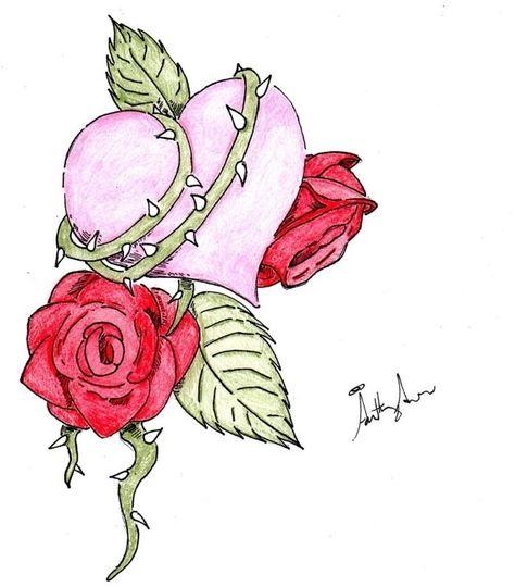 Modèle De Dessin En Couleur Avec Coeur Rose Et Roses Rouges