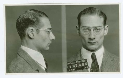 Police Department, City of New York black and white mug shots of Morris Goldis, alias Moish (1937).