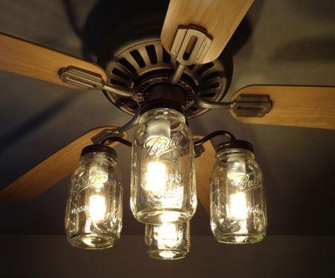 Transform You Ceiling Fan With This Mason Jar Ceiling Fan Light Kit Each Original Mason Jar Li Ceiling Fan Light Kit Ceiling Fan Light Fixtures Fan Light Kits