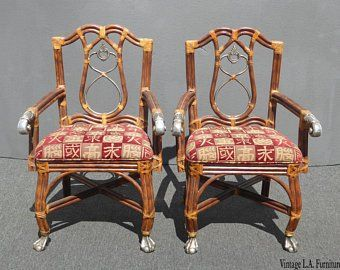 Peachy Pair Brown Leather Chippendale Style Carved Wood Accent Best Image Libraries Counlowcountryjoecom