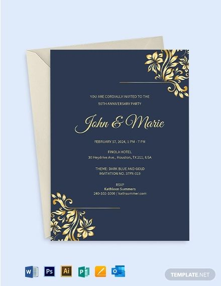 50th Wedding Anniversary Invitation Template Free Pdf Word Psd Apple Pages Illustrator Publisher Outlook Wedding Anniversary Invitations 25th Wedding Anniversary Invitations 50th Wedding Anniversary Invitations