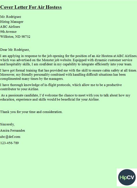 Cover letter for Air Hostess    hipcv  HipCv Resume - combat age discrimination resume tips