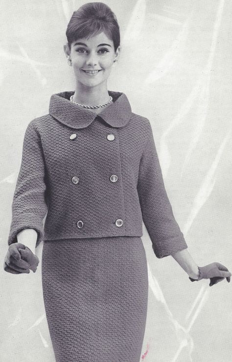 Vintage Knitting PATTERN to make - Cowell Suit Double Breast Jacket Skirt CowellSuit. This is a pattern and/or instructions to make the item only. - I Crochet World