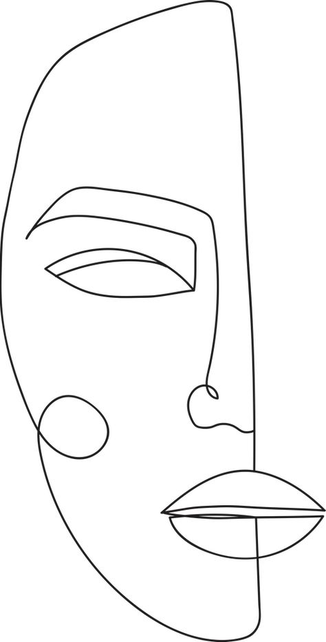 One Line Face Printable Art, Woman Faces Print Art Print by Valeria Art Boutique - X-Small