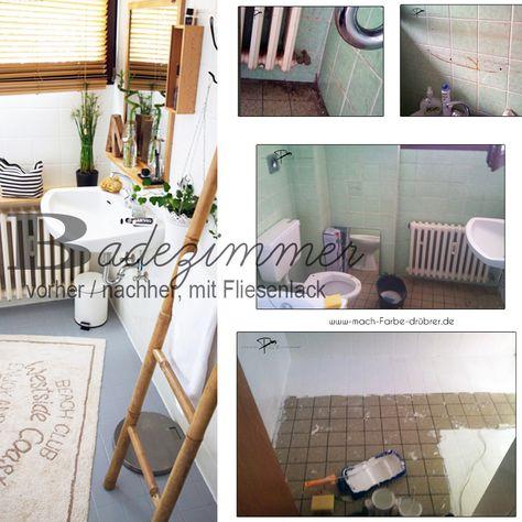 Badezimmer Vorher Nacher Renovieren Mit Fliesenlack Fliesenlack Wohnung Renovieren Renovieren