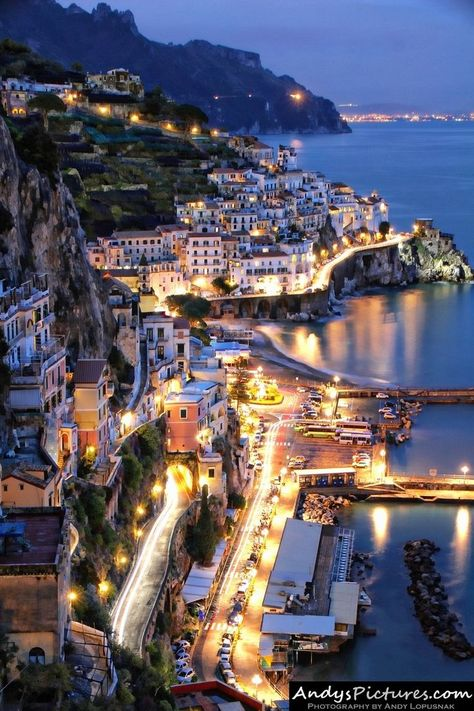 Amalfi by night, Italy. A wonderful place to daydream about :) I so miss this place!!