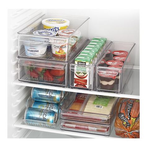 Crate&Barrel; Fridge organizers! How nice does this look! no more Things going bad in the back of the fridge