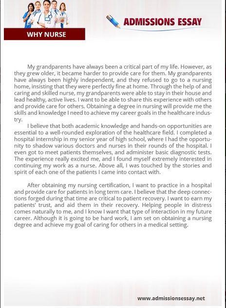 Nurse Admission Essay Example Personal Statement Nursing Examples
