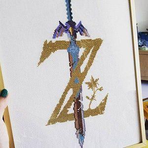 Legend Of Zelda Breath Of The Wild Logo Cross Stitch Pattern In