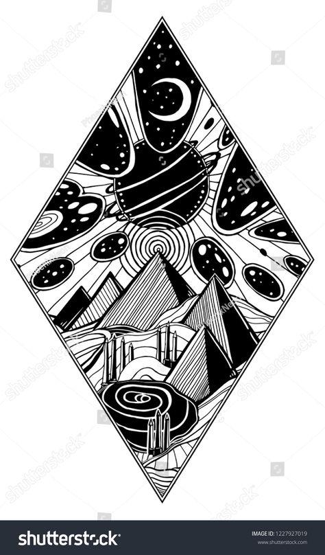 Fantasy Desert Sand Landscape Pyramids Dunes Stock Vector (Royalty Free) 1227927019