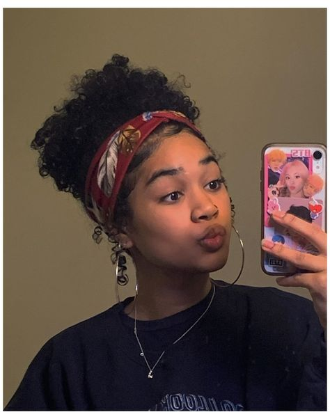 Mixed Girl Hairstyles, Cute Curly Hairstyles, Baddie Hairstyles, Headband Hairstyles, Naturally Curly Hairstyles, Oval Face Hairstyles, Girls Natural Hairstyles, Black Girls Hairstyles, Curly Hair Headband