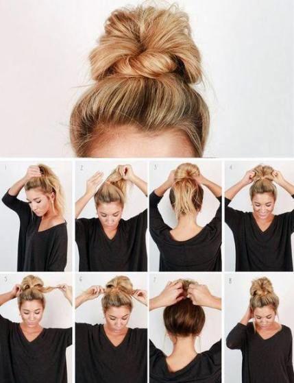 20 Ideas How To Do A Messy Bun Step By Step Lazy Girl Easy Hair Easy Hairstyles Medium Hair Styles Hair Lengths