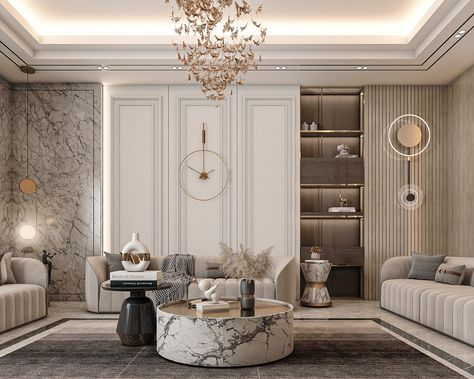Neoclassical Interior Design, Luxury Interior Design, Interior Design Living Room, Living Room Designs, Modern Classic Interior, Classic Living Room, Home Room Design, Luxurious Bedrooms, Interiores Design
