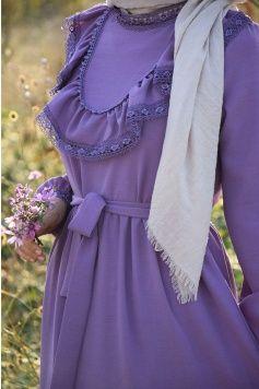 Prenses Model Lila Renk Elbise Giyim Elbise 70 Ler Modasi