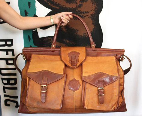 Vintage Brown Leather Large Weekender Carry On Bag 23cdbfae6c68a