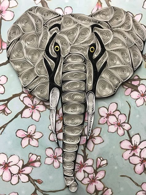 Quilling, Elephant, Quilled Art, Framed 8x10