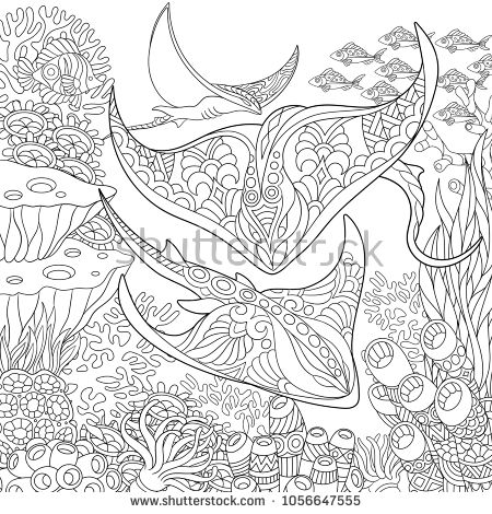 Coloring Page Adult Coloring Book Idea Underwater Background