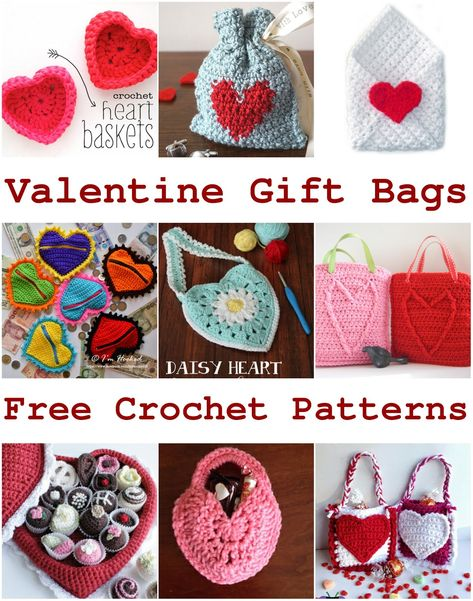 Free Crochet Pattern For Valentine Gift Bags Containers Pouches
