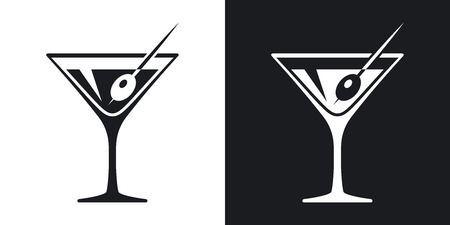 Vector Martini Glass Icon Two Tone Version On Black And White Black And White Background Martini Martini Glass