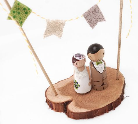 Rustic Tree Slice with Fabric Banner Hand Painted Wedding Cake Topper/Decoration Piece