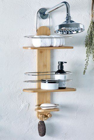 Stow Bath And Body Essentials On This Three Tier Bamboo Storage Caddy An Eye Catching Addition In Your Bathroom Shower Shelves Bamboo Bathroom Shower Storage