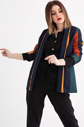 088 Renkli Seritli Bayan Ceket Model