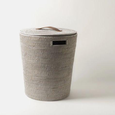 Tinsa Rattan Laundry Bin Round White In 2020 Laundry Basket