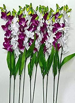 Sk Handloom Udyog Artificial Orchid Flower Bunch 10 Stems For Home Decoration And Garden Decor 45 Cm White With Images Artificial Orchids Bunch Of Flowers Orchid Flower