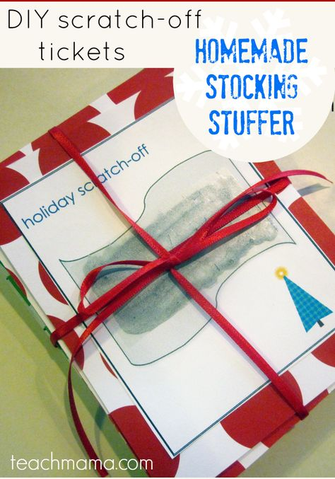 Homemade scratch-off tickets are easy and fun to make--and the possibilities for using them are endless! | holiday crafts |stocking stuffers