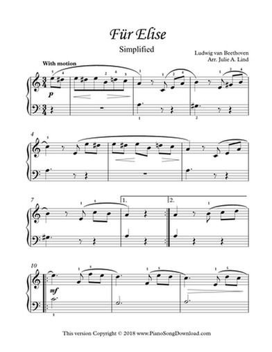 Fur Elise Simplified Beethoven Printable Easy Free Piano Sheet
