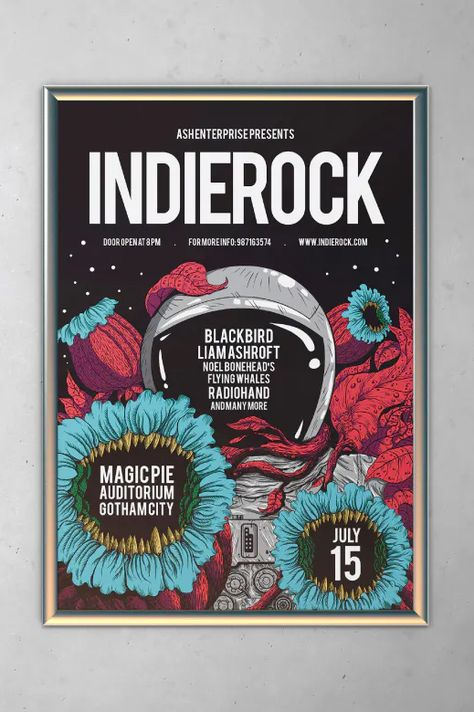 Indie Rock Flyer Template AI, PSD