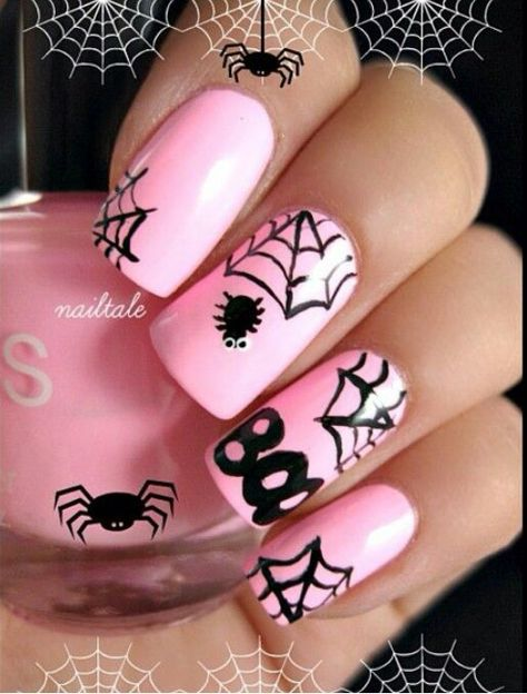 Cute halloween nail art, and pink is one of our best selling colours! Simon jersey supply beauty tunics for beauty salons, spas and hairdressing salons at www.simonjersey.com