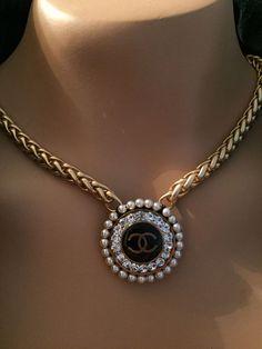 Back by popular demand: Designer Button Necklace, Gold, Black & Bling