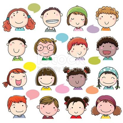 Hand Drawn Children Faces Set Doodle People Cute Cartoon Drawings How To Draw Hands