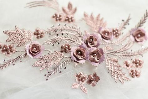 Newest d lace satin applique flower on fabric wedding bridal