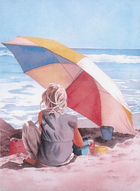 Pomm's Famous Watercolor Painting Gallery Children on the Beach