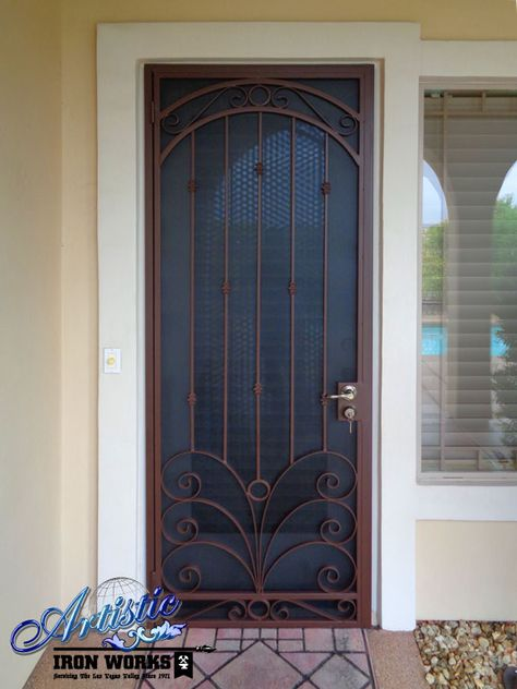 Wrought Iron Security Screen Door with flat bar scrolls, knuckles and circles