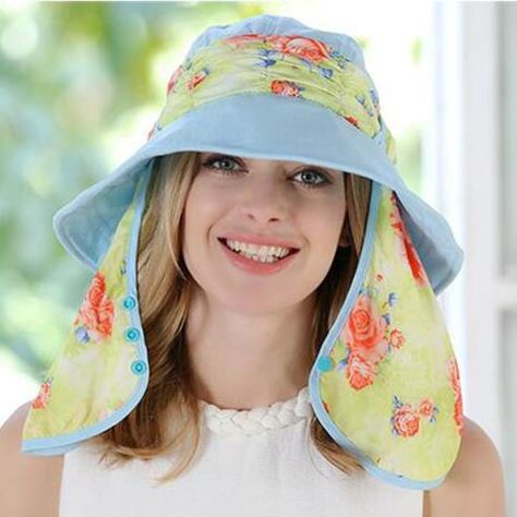 858c8f3af9e Floral sun hat with neck cover for lady UV sun protection hats package  design