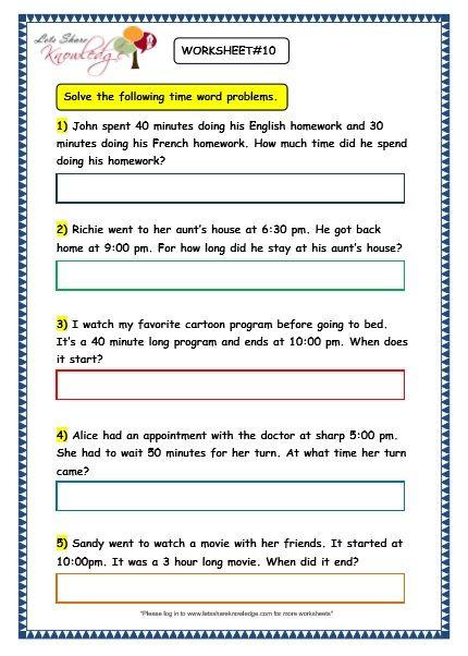 Grade 3 Maths Worksheets 8 5 Time Problems Lets Share Knowledge Grade 3 Maths Worksheets 3rd Grade Math Word Problems Envision math grade 3 worksheets