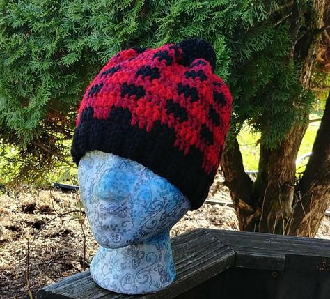 Buffalo Plaid Beanie Crochet Plaid Pom Pom Hat Crochet acf01f316523