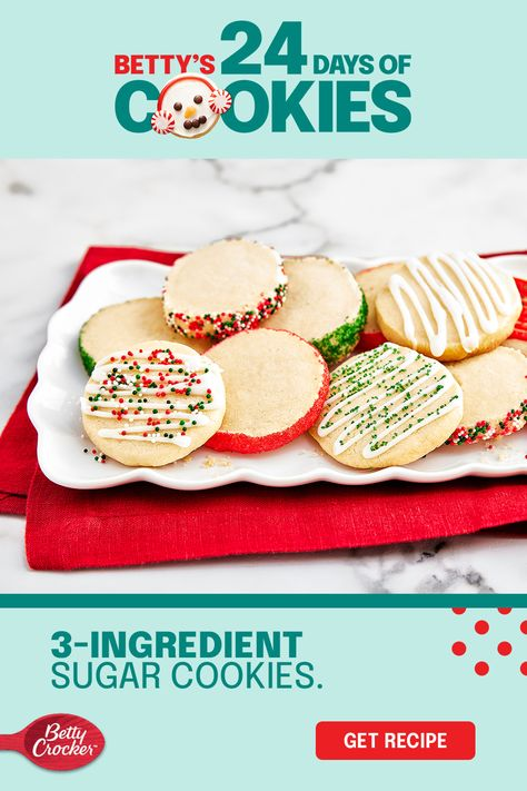 Customize these easy 3-ingredient sugar cookies any way you want with our simple decorating variations. Shape 3-ingredient sugar cookie dough into a log before chilling it, and you'll be able to slice and decorate it to create something new each time. Buttery, tender and melt-in-your-mouth, this one's a keeper. Pin it now for all the making to come!