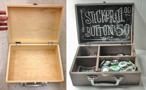 Aged Wooden Chalkboard Display Box