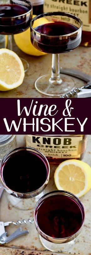 This Wine and Whiskey Cocktail is the perfect combination of red wine, whiskey, and lemon with a little splash of simple syrup. This Wine and Whiskey Cocktail is the perfect combination of red wine, whiskey, and lemon with a little splash of simple syrup. Red Wine Cocktails, Whisky Cocktail, Whiskey Drinks, Cocktail Drinks, Cocktail Recipes, Drink Recipes, Whiskey Recipes, Cocktail Ideas, Milkshakes